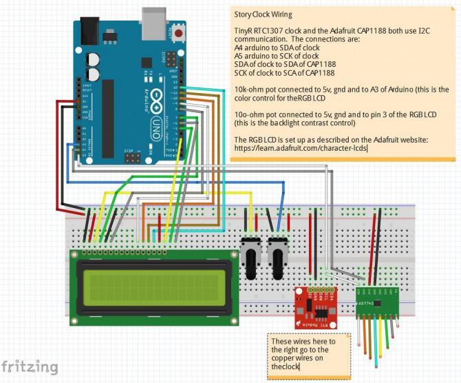 Die geschichte uhr arduino lcd w cap sensoren