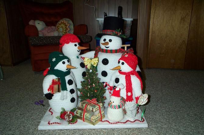 Crochet Knit Und Schneemann Familie