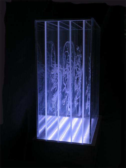 (Pier 9 Luft) in der Box (wie man ätzen und zeigt mehrere Zeichnungen auf transparenten Acryl)