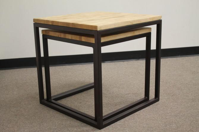 Nested Cube Butcher Block Tables