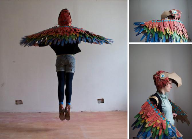Makedo Parrot Kostüm Wearable Vogel Flügel Und Parrot Hat