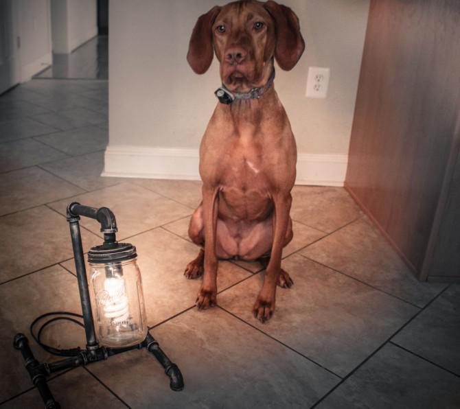 Maurer-Glas-Rohr-Lampe