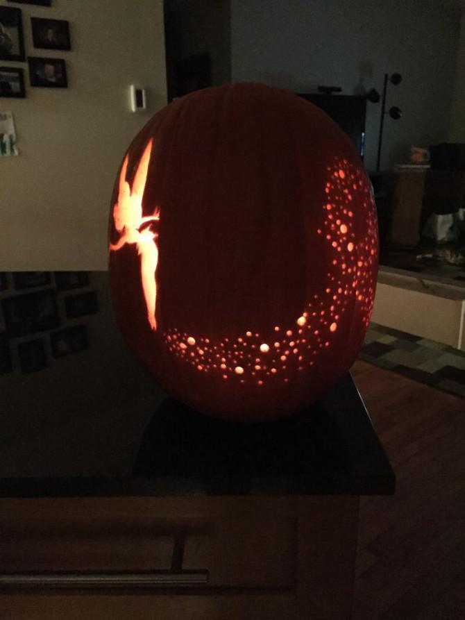 tinkerbell carved pumpkin