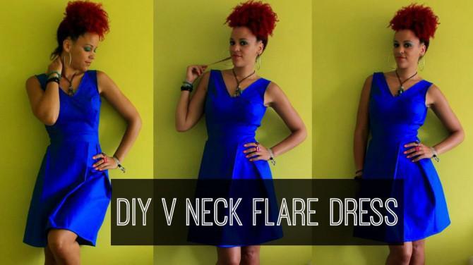 DIY Kleidung   Wie man eine V-Ausschnitt, Ausgestelltes Kleid DIY