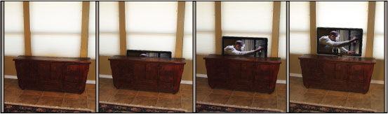 Verschwinden TV mit Pop Up TV Lift hinter Möbeln Mounted