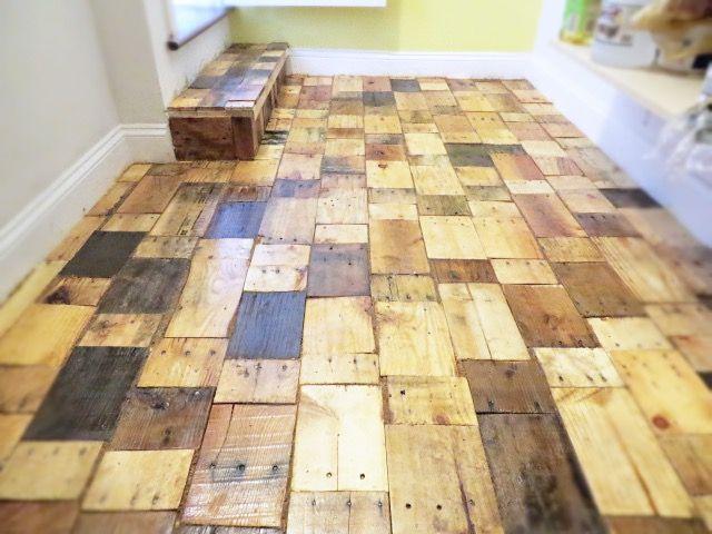 Werkstatt Holzboden eines diy pallet holzboden mit freien holz