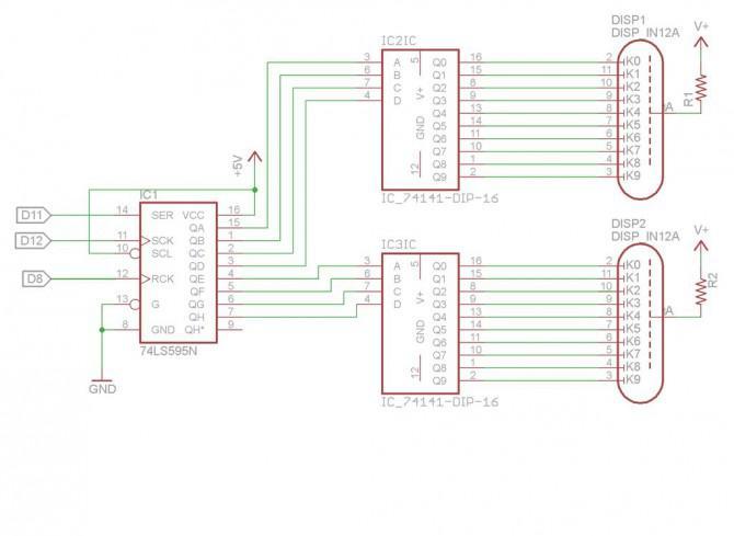 Fahren zwei Nixie Rohre mit einem Arduino über ein Schieberegister und zwei SN74141s.