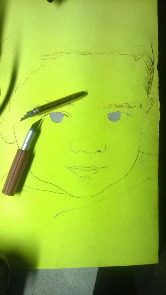 Sprühfarbe Water Color Stencil Portrait