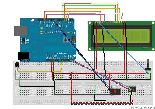 Arduino LCD Thermometer / Temperaturregelung mit TMP36GZ Temp Sensor aufgenommen 2 chanel Relais, hinzugefügt RTC DS1307, online gestellt am WWC Führer a case.based.