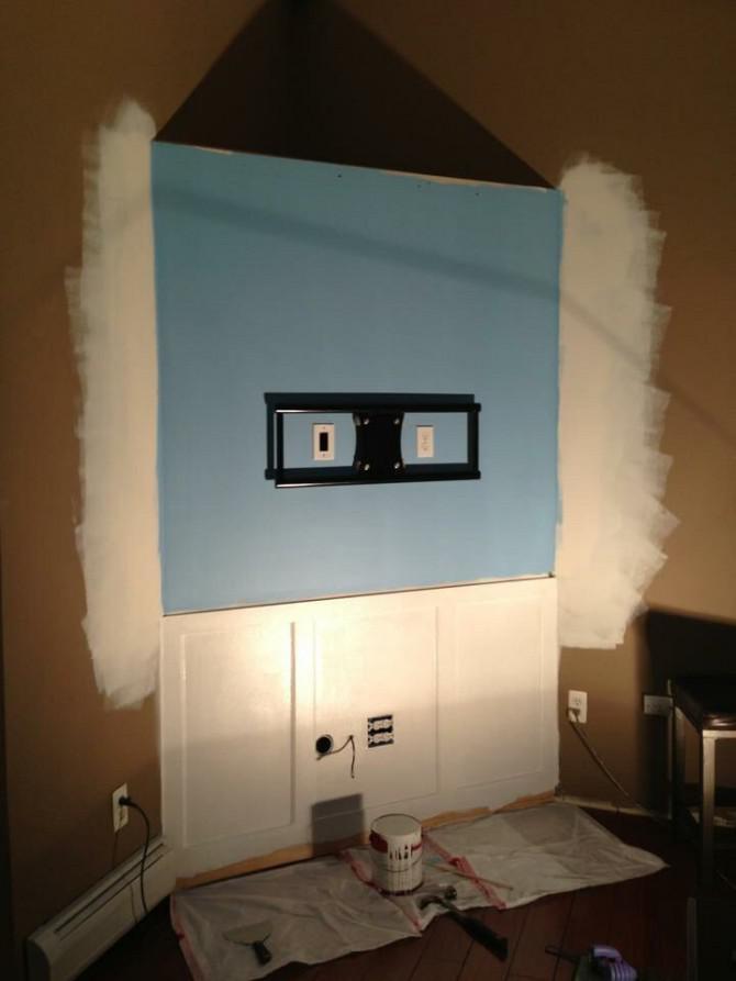 Versteckte Drähte für Flachbildfernseher mit PVC-Rohr