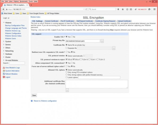 Hinzufügen von Webmin, um einen Raspberry Pi verwalten
