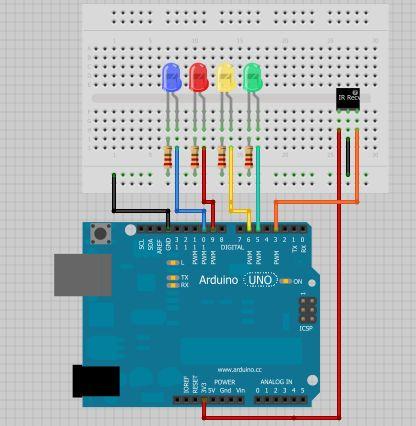 Arduino - Kontroll-LEDs mit einer Fernbedienung