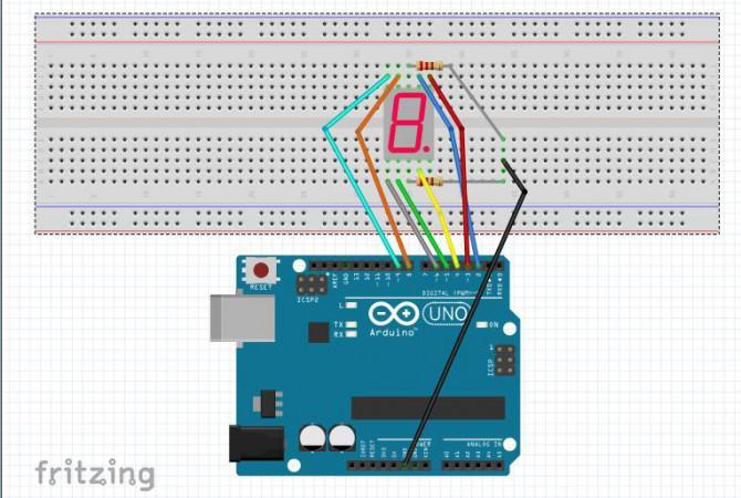 7-Segment-Anzeige auf Arduino