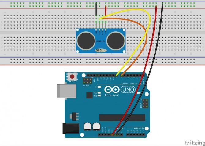 Ultraschall-Entfernungsmesser mit LCD-Anzeige auf Arduino UNO