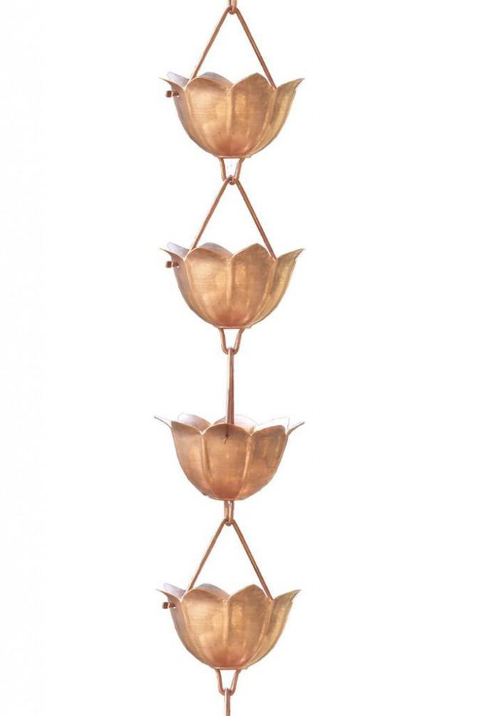 Tulpenform Monarch Regenkette aus reinem Kupfer 2,4 m