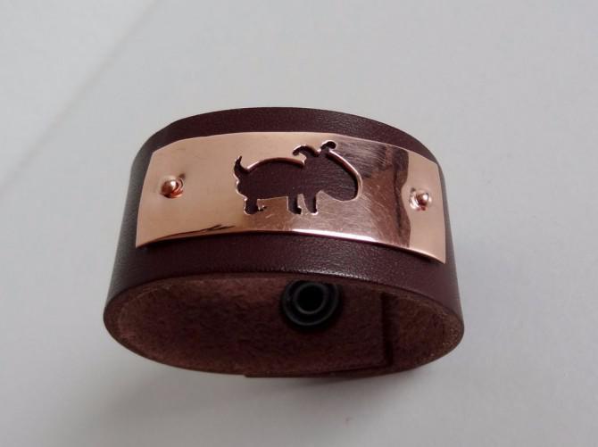 Armband mit Kupferplatte in Holz oder in Leder